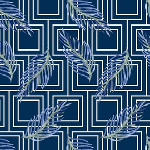 19-10k Navy White Squares Blue Leaf Large