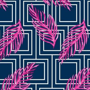 19-10j Navy White Squares Hot Pink Leaf