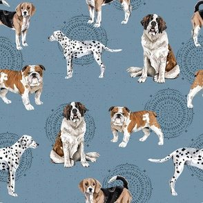 Dogs Dogs Dogs on Blue - original size