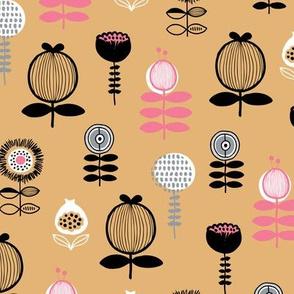 Little flower friends blossoming poppy flower and leaves summer golden ochre pink