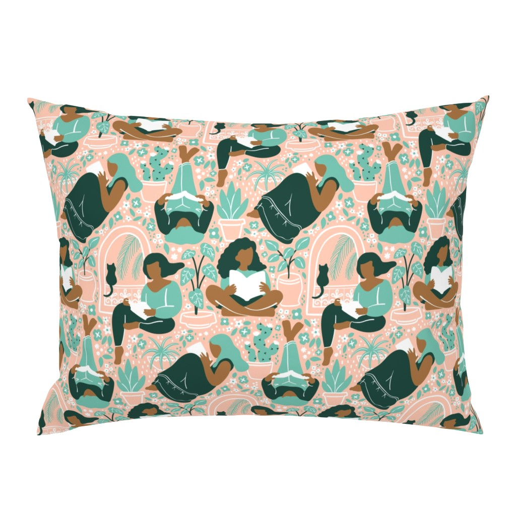 Campine Pillow Sham featuring Women Readers by mia_valdez