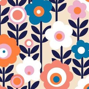 Marguerite* (Jagger & Valencia) || vintage sheet mod 70s 60s flower floral leaves stem garden spring summer living coral pink