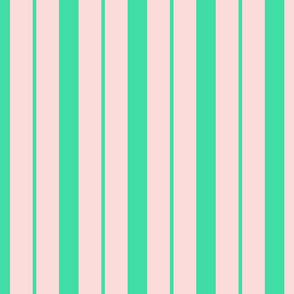 Pink and Mint Green Café Stripe Vertical Pattern