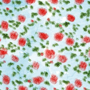Watercolor Mini Roses Red on Baby Blue