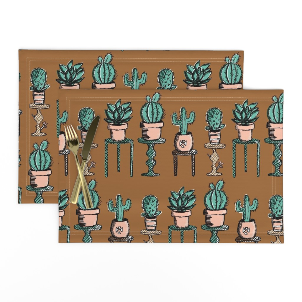 Lamona Cloth Placemats featuring Succulent Lineup / Bronze   by franbail