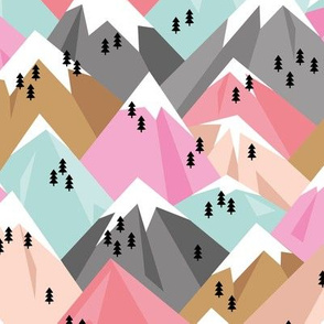 Abstract geometric winter snow topped mountains minimal climbing theme pink girls