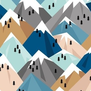 Abstract geometric winter snow topped mountains minimal climbing theme navy cinnamon blue