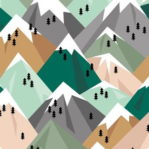 Abstract geometric winter snow topped mountains minimal climbing theme mint green brown