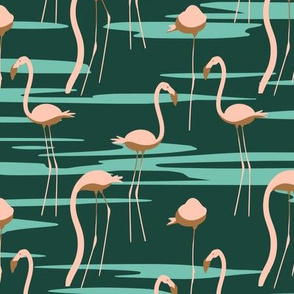 Flamingos in the lake seemless