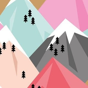 Abstract geometric winter snow topped mountains minimal climbing theme pink girls JUMBO