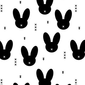 Minimal monochrome bunnies Scandinavian abstract neutral kids theme kawaii cross black and white