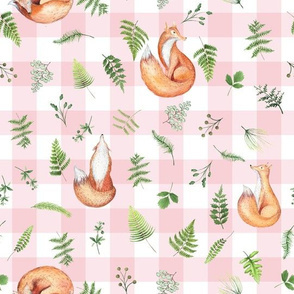 "10"" Woodland Animals - Little Fox on pink-white gingham"
