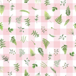 "10"" Woodland Animals - Little green leaves on pink-white gingham"