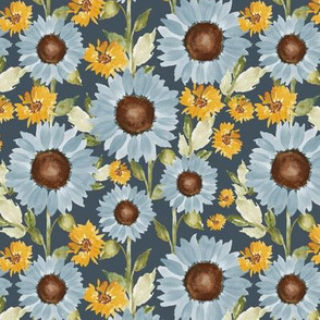 Sunflower Feilds in navy