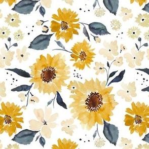 Sunflowers and cream 7x7