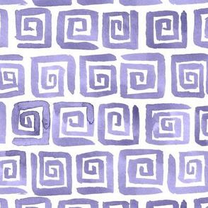 Watercolor Greek Key  - Lilac