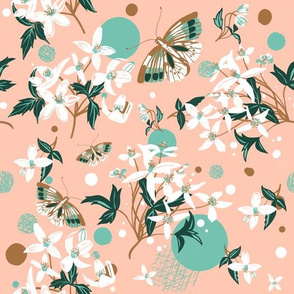 Butterflies and White Blooms