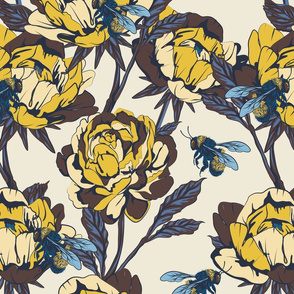 Peonies & Bees - large scale - yellow