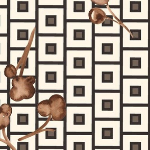 19-10g Neutral Southern Cotton Geometric Squares