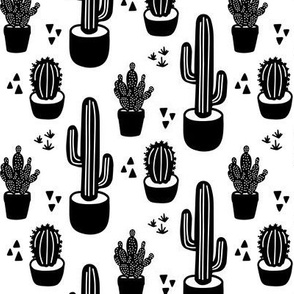 B&W Desert Chic Cactus - cute potted cacti succulents in black and white monochrome, modern and clean hand drawn style