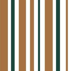 Desert Chic Vertical Stripes - bronze and forest green unequal stripes