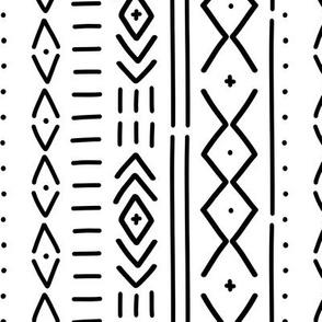 B&W Modern Mudcloth - hand drawn mudcloth inspired wholecloth