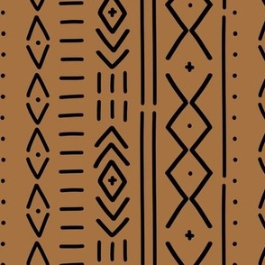 Modern Mudcloth in Bronze - hand drawn mudcloth inspired wholecloth / copper