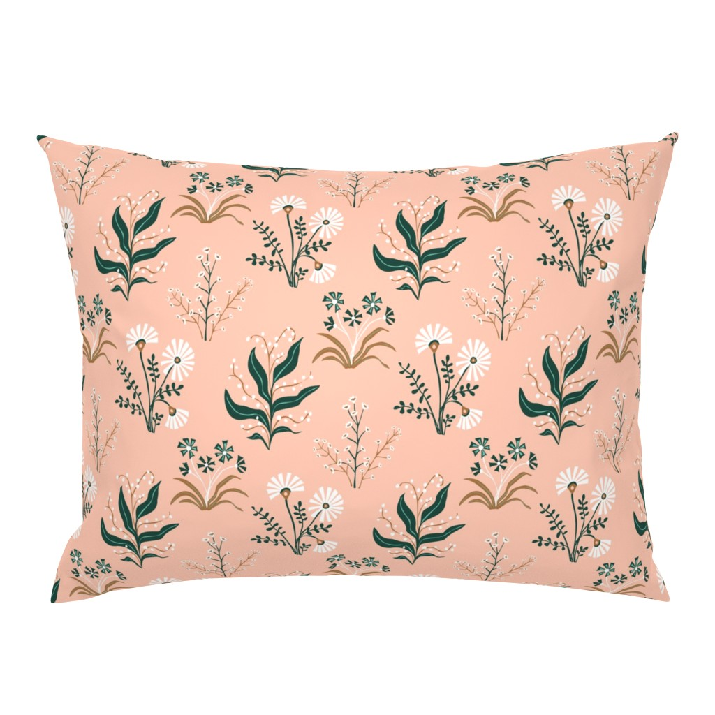 Campine Pillow Sham featuring Limited colour - Garden flowers by rachelmacdonald