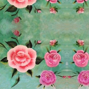 painted roses dark mint green background no fuzzy