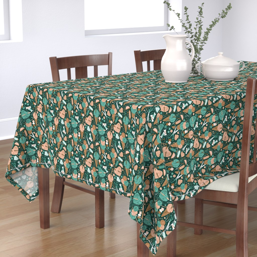 Bantam Rectangular Tablecloth featuring Small scale // All you knit is love // green forest background pink rosé spearmint and bronze sewing details by selmacardoso