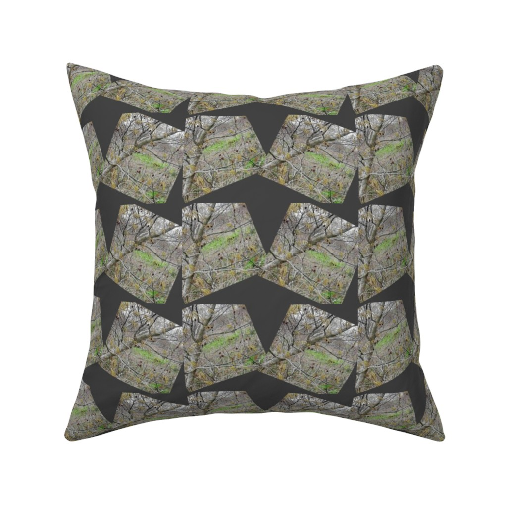 Catalan Throw Pillow featuring Ghosts in the woods by steel-daisies