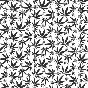 Cannabis leaves - dark grey on white