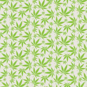 Cannabis leaves - lime on tan