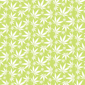 Cannabis leaves - white on lime