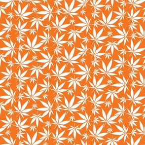 Cannabis leaves - white on orange