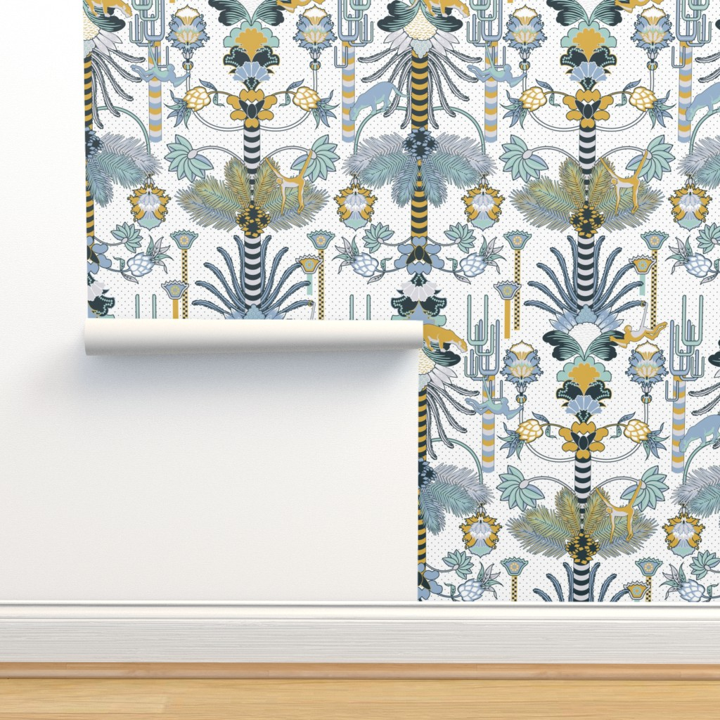 Isobar Durable Wallpaper featuring Jungle Fantasy (Mustard/Wedgewood) by vannina