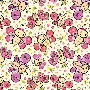 Adorable pink and orange hand drawn Kawaii style dancing butterflies design