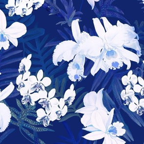 Vintage White Orchids Navy 300