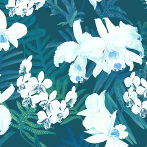 Vintage White Orchids Teal 300