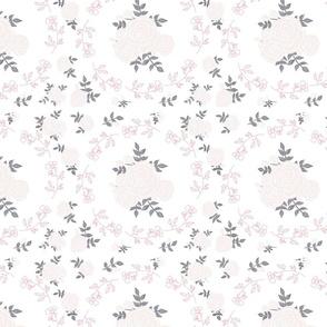 Dancing roses - blush on white