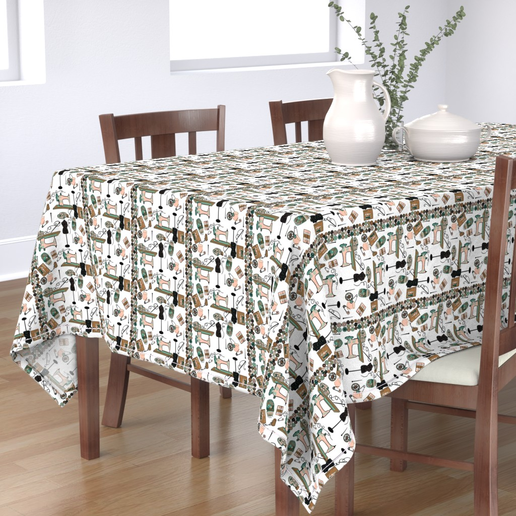 Bantam Rectangular Tablecloth featuring I heart Sewing! by salzanos