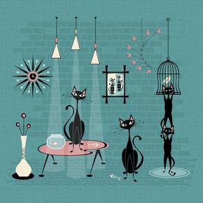 Mid Century Kitty Mischief - FQ ©studioxtine