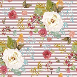"""8"""" Rustic Autumn Garden with Old Rose Stripes"""