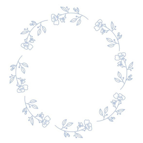 Floralie circle - sky blue on white