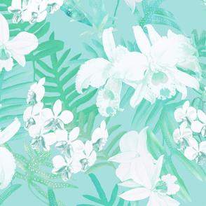Vintage White Orchids Aqua 300