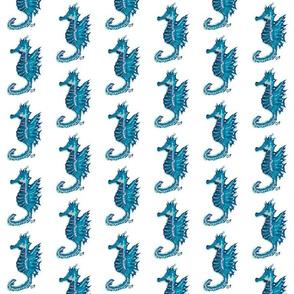 Turquoise Seahorses on White