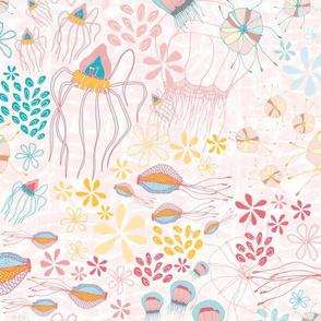 Sea Creatures Gathering - Pink