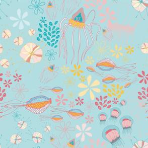 Sea Creatures Gathering - Aqua