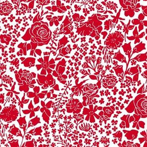 hand printed red floral meadow