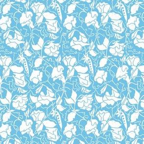 light blue sweet pea linoprint